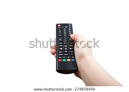 Hand with remote control pointing forward isolated at white