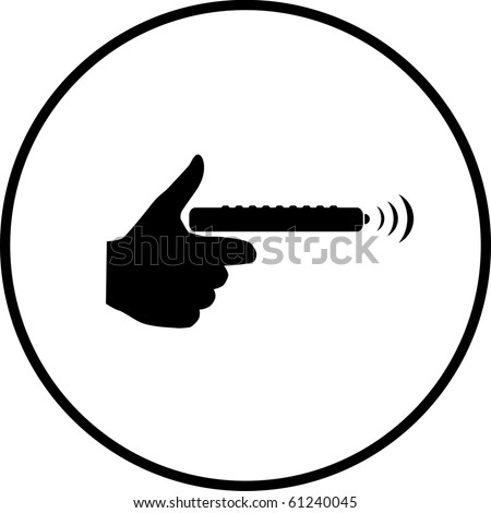 hand with remote control symbol - stock photo