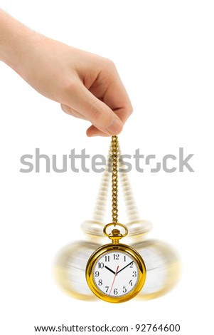 Hand with retro watch and chain isolated on white background - stock photo