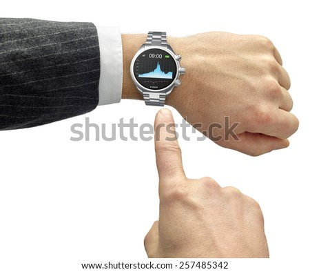 hand with smart watch and finger touch screen - stock photo