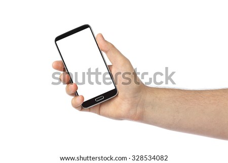 Hand with smartphone isolated on white background - stock photo
