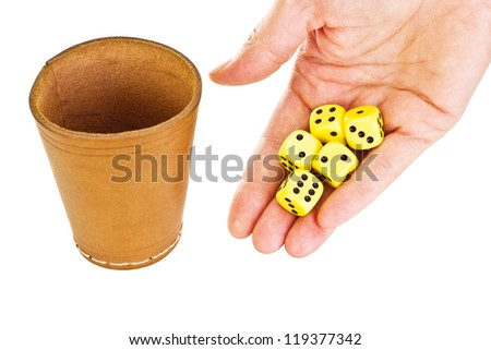 Hand with some dice - stock photo