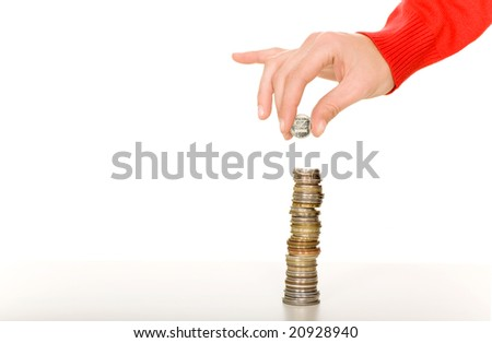 Hand with stack of coins