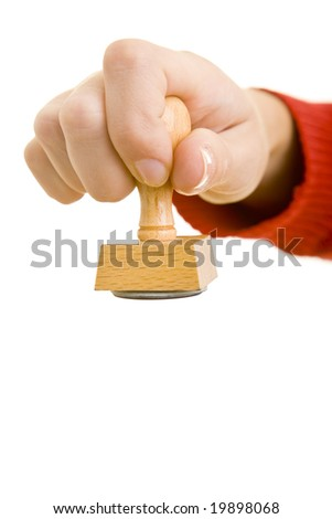 Hand with stamp - stock photo