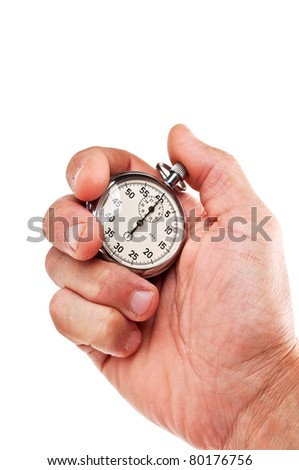 hand with stopwatch isolated on a white background - stock photo