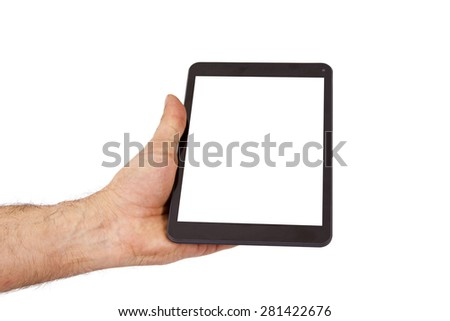 hand with tablet - stock photo