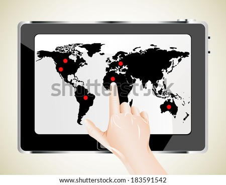 Hand with tablet computer.