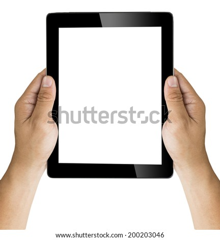 hand with tablet  isolated on white