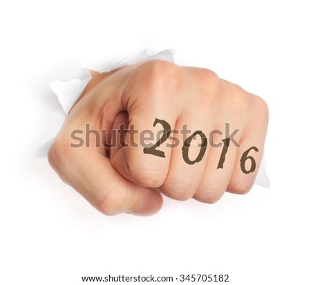Hand with 2016 tattoo punching through paper isolated on white - stock photo