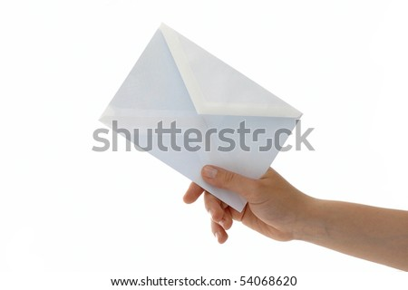Hand with the envelope against the white background - stock photo