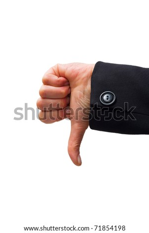 hand with thumb down - stock photo
