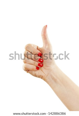 Hand with thumb up isolated on white background. Ok sign by woman - stock photo