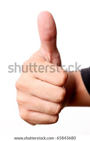Hand, with thumb upward. Ok signal. isolated  image - stock photo