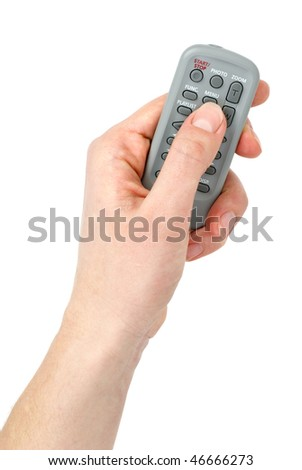Hand with Tiny infra-red remote control unit isolated on the white background