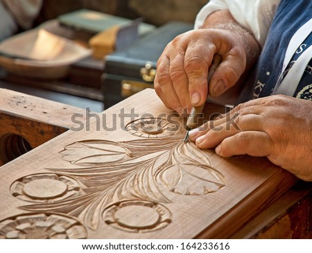 Hand with tool blured in motion  - stock photo