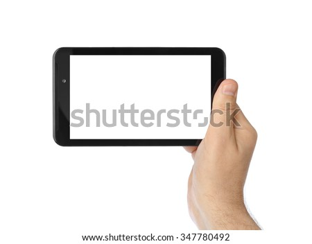 Hand with touchpad pc isolated on white background
