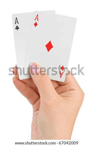 Hand with two aces isolated on white background - stock photo