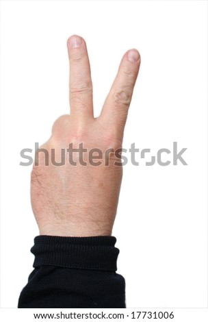 Hand with two fingers forming a V; middle-aged skin type (around 50); white background - stock photo