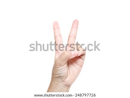 Hand with two fingers up in the peace or victory symbol. Also the sign for the letter V in sign language. Isolated on white. - stock photo