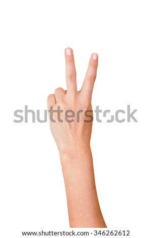 Hand with two fingers up in the peace or victory symbol Isolated on white.