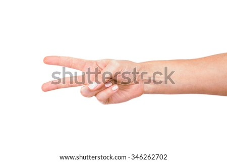 Hand with two fingers up in the peace or victory symbol Isolated on white. - stock photo