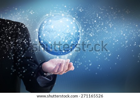 Hand with World Map and Globe icon - stock photo
