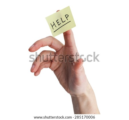 hand with yellow note stuck to finger with help on it isolated on white - stock photo