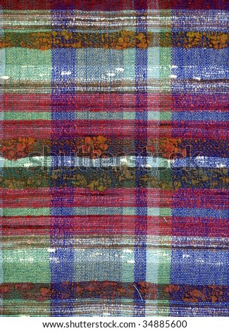 Hand woven fabric check