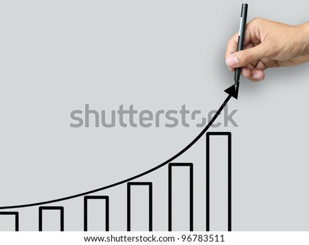 Hand write growth chart - stock photo