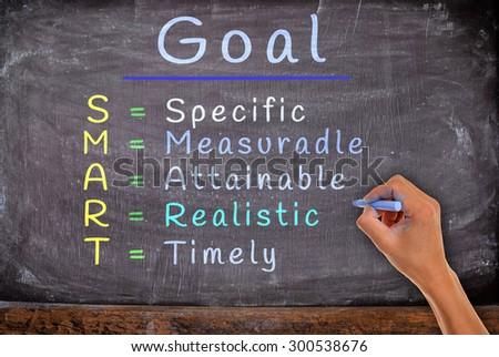 hand write SMART goals with chalk, on blackboard. - stock photo