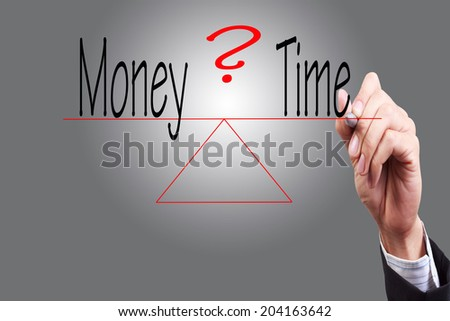 hand write word money time weight compared with pen on transparent glass concept for business success