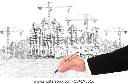 hand writing and building construction construction business theme