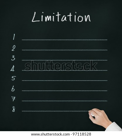 hand writing blank limitation list on chalkboard - stock photo
