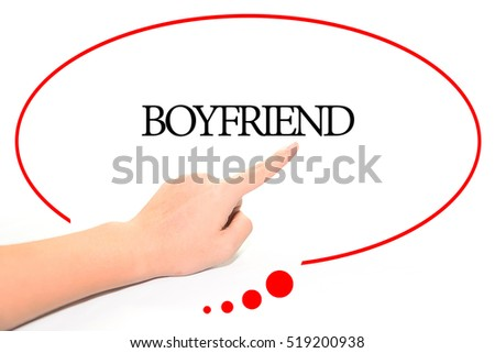 Hand Writing BOYFRIEND With The Abstract Background Word Represent Meaning Of