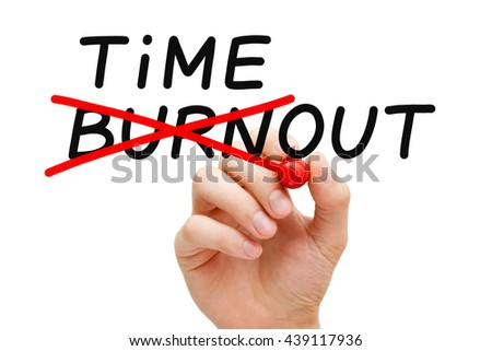 Hand writing Burnout Timeout concept with marker on transparent wipe board. To avoid falling victim to burnout, you need to take a timeout.