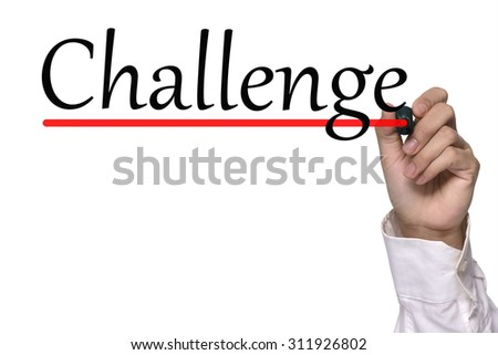 Hand writing challenge over white - stock photo