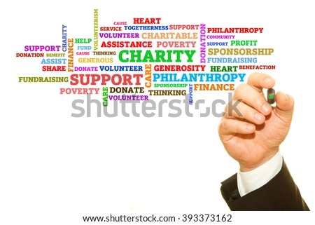 Hand writing Charity word collage on a transparent wipe board. - stock photo