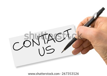 "Hand writing ""contact us"" on a blank card isolated on white background - stock photo"
