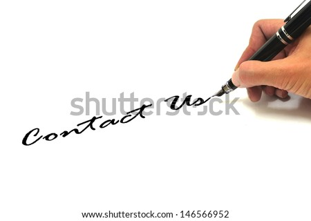 Hand writing contact us over white