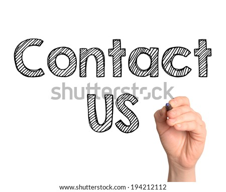Hand writing Contact Us with marker on transparent wipe board.  - stock photo