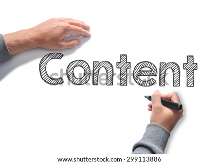 Hand writing Content word on white sheet of paper - stock photo