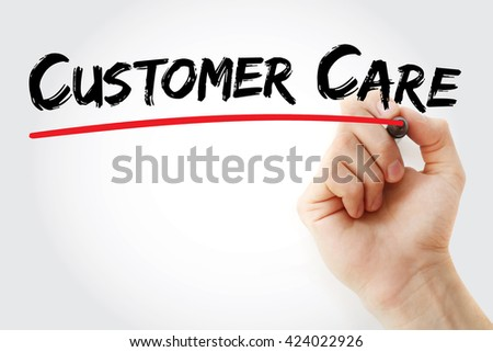 Hand writing Customer Care with marker, business concept background - stock photo