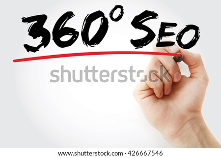 Hand writing 360 degrees SEO with marker, business concept - stock photo