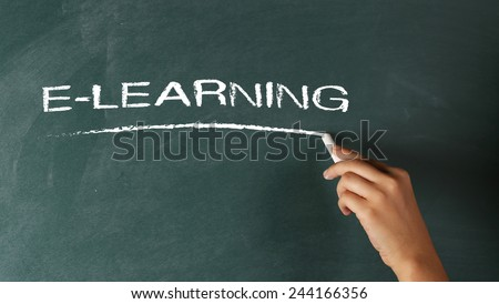 Hand Writing E-Learning on Blackboard - stock photo