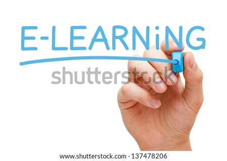 Hand writing E-learning with blue marker on transparent wipe board.