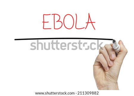 Hand writing ebola on a white board - stock photo