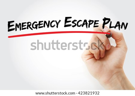 Hand writing Emergency Escape Plan with marker, business concept background - stock photo