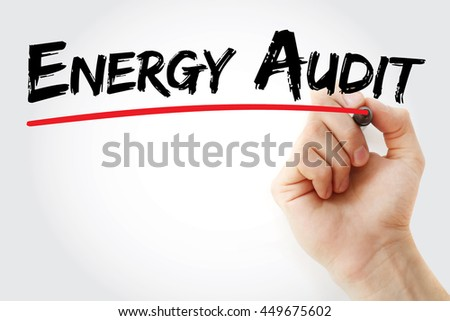 Hand writing Energy Audit with marker, concept background - stock photo