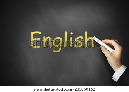 hand writing english on black school chalkboard - stock photo