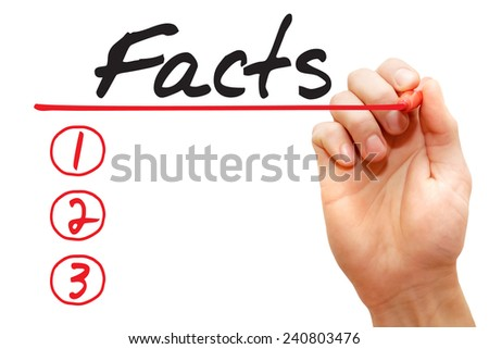 Hand writing Facts List with red marker, business concept  - stock photo